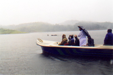 Assembly Committee and elephant in           Periyar Reservoir